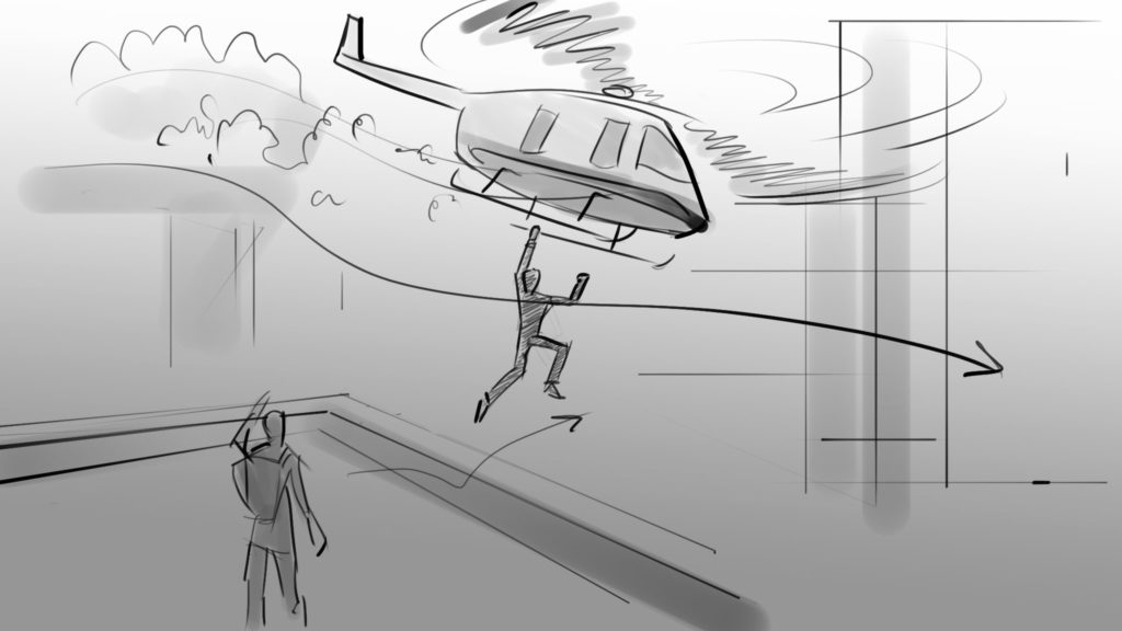 video production storyboard helicopter scene